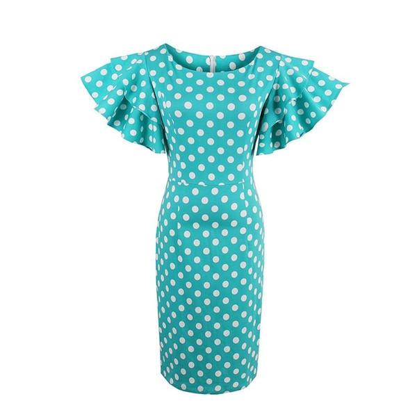 a6602be1e7d1b 2019 Sisjuly Women Green Polka Dot Dress Short Ruffle Petal Sleeve Pin Up O  Neck Cotton Pencil Dress Patchwork Work Bodycon Dresses Y19012201 From ...