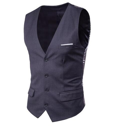 High quality New Korean Small vest Male 2018 Business casual vest Male Pocket Patch 9 Color Big Size 6XL Increase Suit
