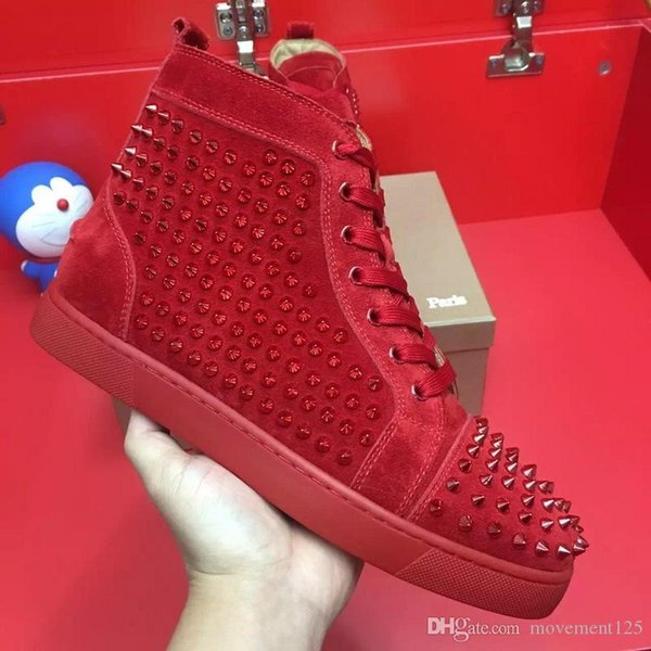 Size 36-46 Men Women Sneakers Shoes With Spikes Toe Low Top Red Bottom Shoes Fashion Sneaker,Unisex Luxury Comfort Casual Walking Shoe