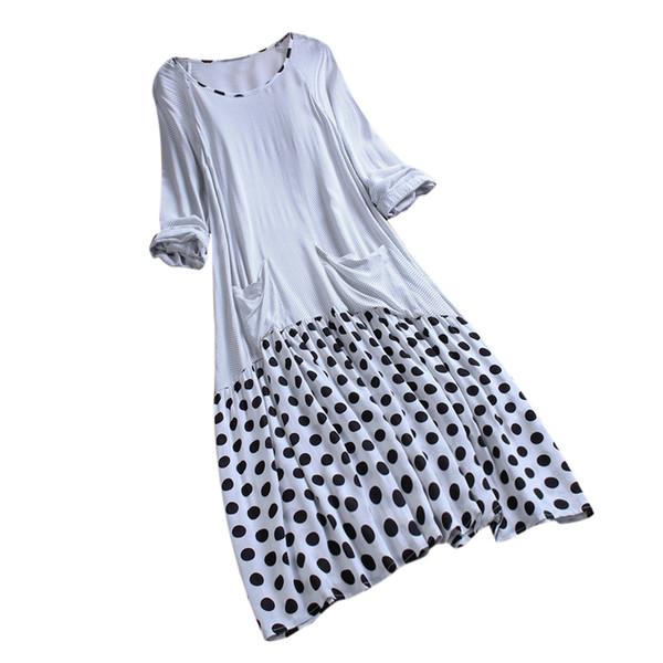 Plus Size Summer Tshirt Dress Women 2019 Causal Long Sleeve O-Neck Polka Dot Printed Patchwork Women Dress Dames Jurken