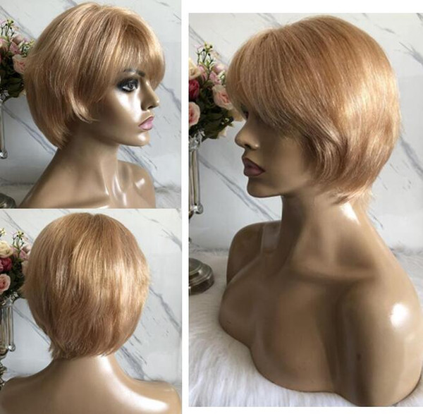 Celebrity Wig Lace Front Wigs Short Cut PiXie Style Blond Hair Indian Virgin Human Hair Full Lace Wig for Black Woman Free Shipping