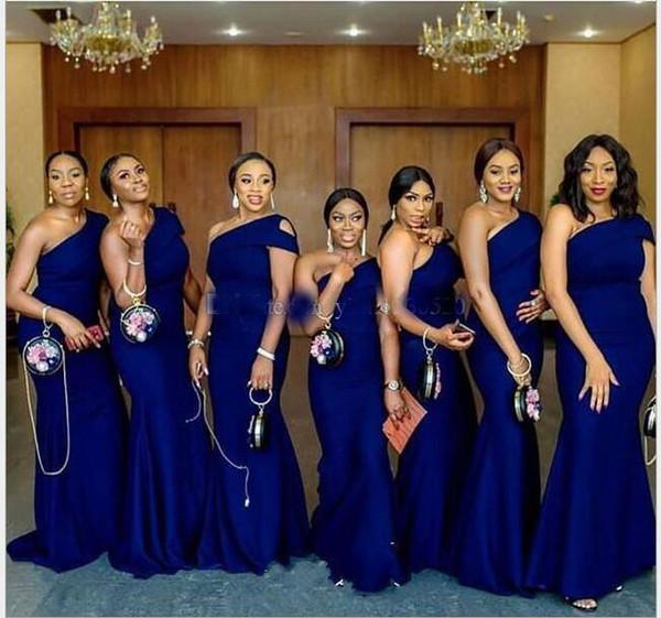2019 Kraliyet Mavi Bir Omuz Mermaid Nedime Elbise Sweep Tren Basit afrika Ülke Düğün Konuk Abiye Hizmetçi Onur Elbise Artı Boyutu