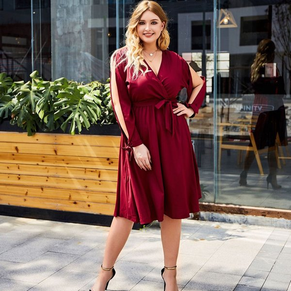 V Casual Dress Woman Luxury Big Size Dress 2019 Winter Dresses Women Plus  Size Solid Color Lace Party Evening Prom Vestido Women Red Dresses Yellow  ...