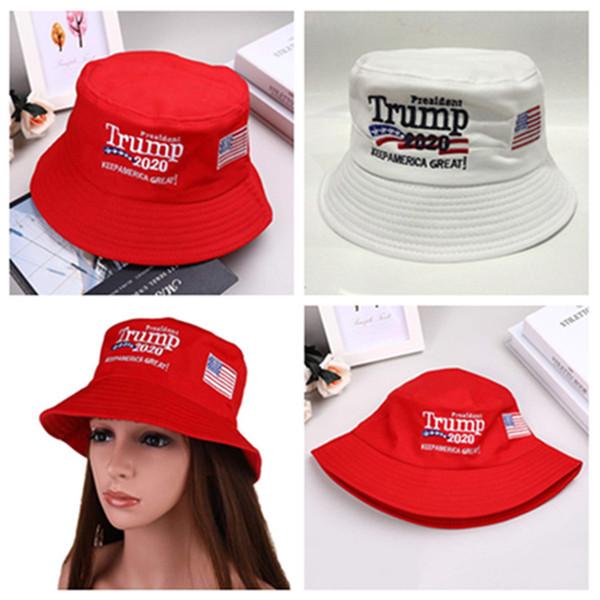 Trump 2020 Fisherman Cap 2 colour Embroidered Bucket Cap Cotton Sport Travel Beach Sun Hats Fashion Camping Hat free FEDEX TNT