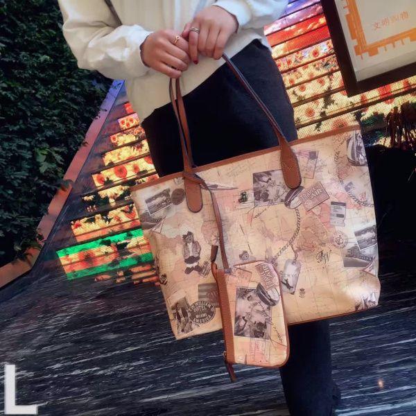 Mapa del mundo de alta calidad bolso de las mujeres de moda bolso de mano grande diseñador de la marca bolso bandolera HC-W-1066 Contenido de la tienda