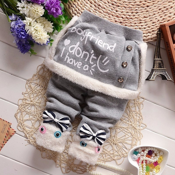 good quality New Children Winter Girls Trousers Fashion Letter Print kids baby Leggings Plus Velvet skinny casual Baby Basic Pant