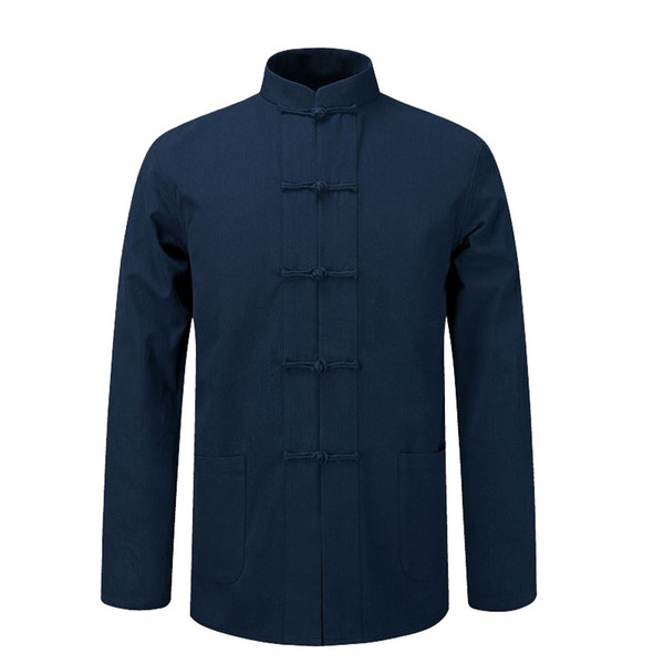 Manga comprida de algodão camisa chinês tradicional roupa Tang revestimento roupa terno Kung Fu Tai Chi Uniforme Outono Fina jaqueta para
