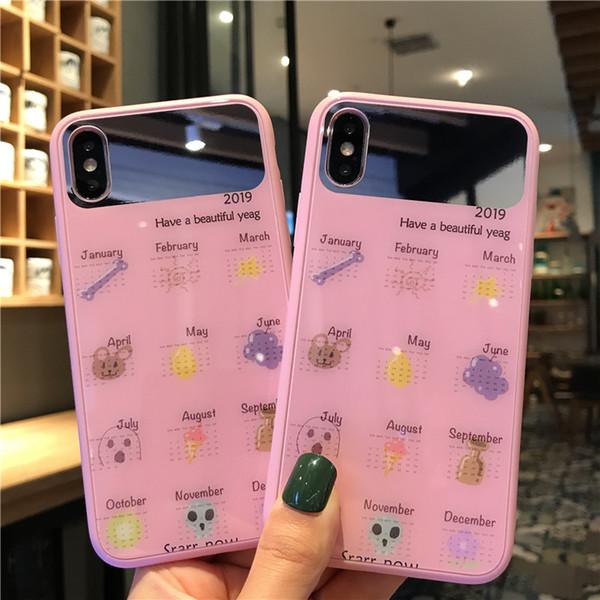 Una pieza de la caja del teléfono del espejo encantador y de la moda para el iPhone 6S 7 8 P X XS Diseñador teléfono contraportada rosa calendario
