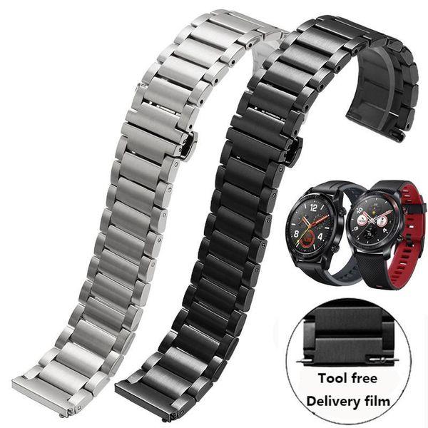 Роскошные нержавеющей стали ремешок Замена ремешок для Huawei часы Часовые аксессуары Pro GT 22мм Металлический браслет Мужские