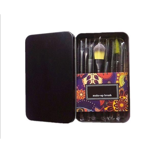 New M metal case professional makeup brushes set 12pcs Powder Foundation Eye Shadow Cosmetics Brush kit