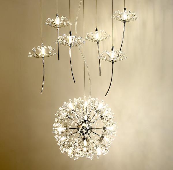 Europa Araña de cristal Diente de león Tienda de ropa Restaurante Salón G4 Iluminación LED Escaleras Droplight Lámpara de flor estadounidense