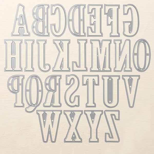 scrapbooking schablone stanzformen in einer karte englische alphabet schreiben