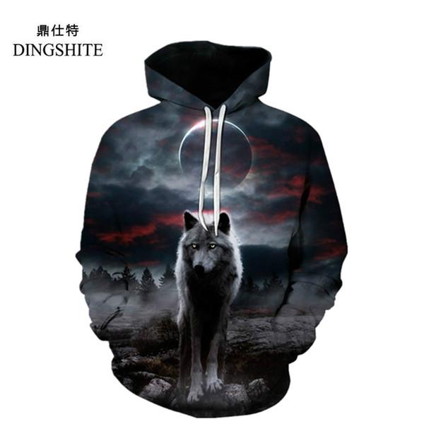 DINGSHITE New Design Unisex Galaxy Space Wolf 3D Print Thin Hoodies Sweatshirt with Pocket