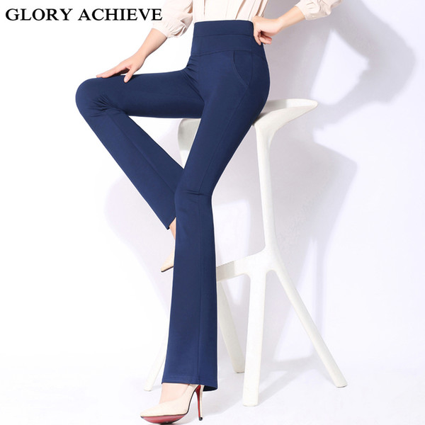 High Waist Pants Women New Fashion 2019 Spring Summer Office Lady Flare Pants Trousers Work Pants Long Trousers Female Plus Size T3190610