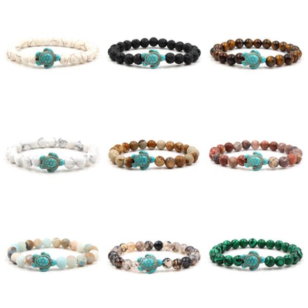 Summer Style Sea Turtle Beads Bracelets For Women Men Classic 14 colors Natural Stone Elastic Friendship Bracelet Beach Jewelry