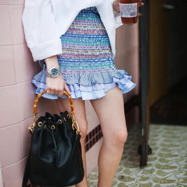 NuoJin Ruffles Faldas Para Mujer Una Línea Cintura Alta Falda Arco Iris Falda Lápiz A Rayas Faldas de Verano Sexy Mini Faldas Streetwear