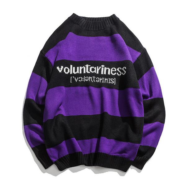 Gestrickte japanische Harajuku Hip Hope Brief Muster Pullover für Männer Urban Boys Knit Streetwear gestreiften Pullover Jumper Plus Größe