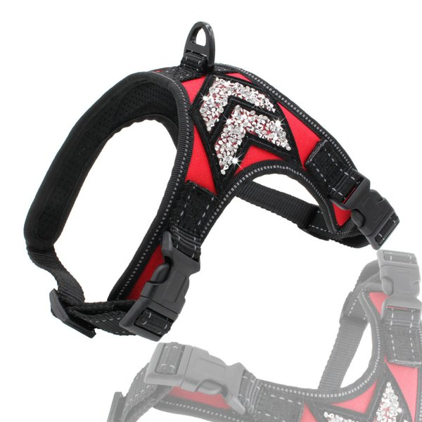 Dog Harness Crystal Diamond Pet Oxford Material Vest for Pet Adjustable Bling Rhinestone Dogs Easy Control Dogs Drop Shipping