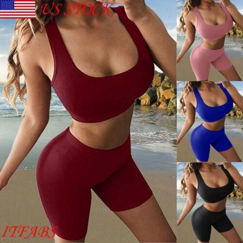 Sexy 2 Unids Set Yoga Mujeres Verano Traje de Yoga Entrenamiento Gimnasio Correr Sujetador Deportivo Chaleco Pantalones Cortos de Cintura Alta Ejercicio Atlético Conjunto # 945940