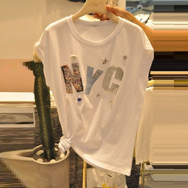 T-shirt Women 2018 Cotton Female T Shirts Tops Casual Basic Lady Tees White Short Sleeve Girl Letters Beaded Letter Pattern Tee Y19042501