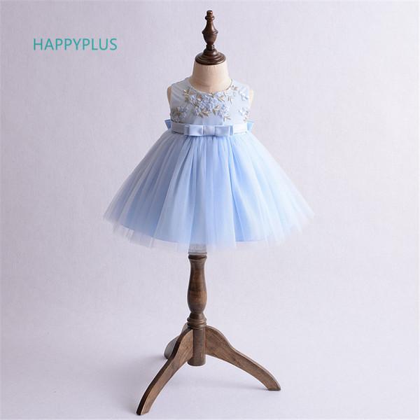Happyplus Baptism Infant Girl Mesh Dress Christening Baby Girl Dress Shower Blue Green Flower 1st Birthday Baby Dress Wedding Y190516