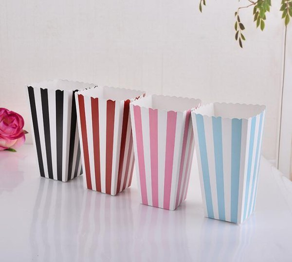 HOT Wave Circles Pattern Folding Candy Popcorn paper Boxes Birthday Party Wedding Candy/Sanck Favor Bags Paper Chritmas gift 888