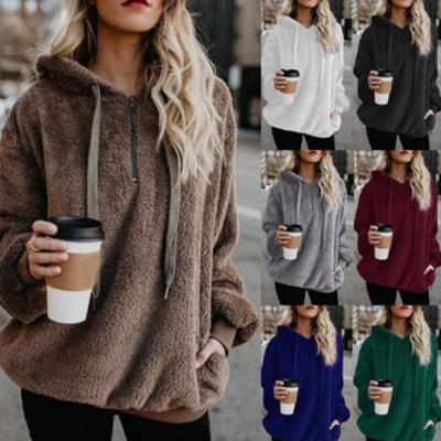 Women's Fashion Designer Zipper Hoodies Long Sleeve Hooded Solid Sweater for Lady Luxury Stylish Casual Outwear Sweatshirts Plus Size 5XL