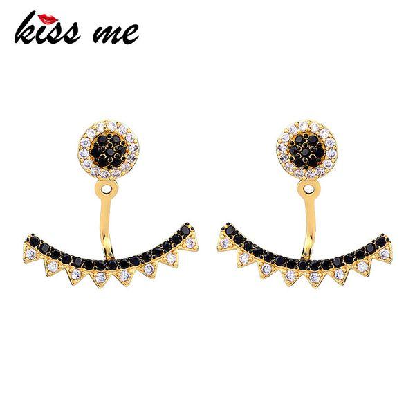 Trendy Gold Color Plating Geometric Zircon Pendant Drop Earrings For Women Fashion Jewelry