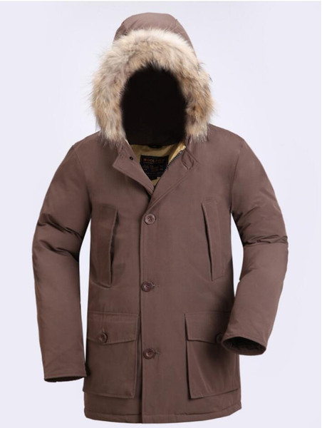 Mode Wolle reichen klassische Marke Männer Arctic Anorak Daunenjacken Mann Winter weiße Gänsedaunen 90% Outdoor Thick Parka Coat Mens warme Oberbekleidung