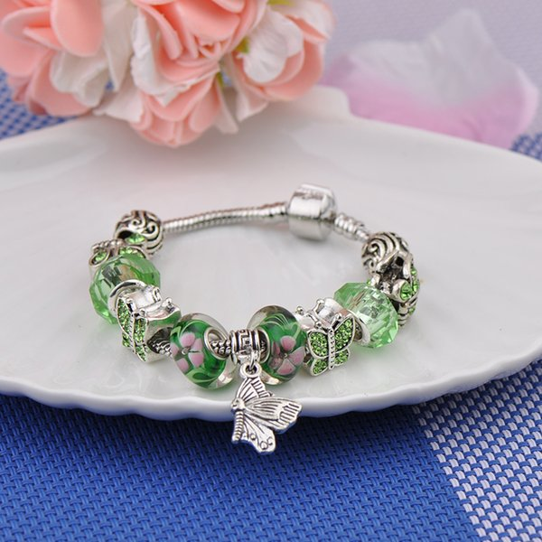 Popular Brand Silver Plated Charm Bracelets Women Designer Transparent Green Beads Butterfly Pendant Fit Pandora Bangles Jewelry Package 5A