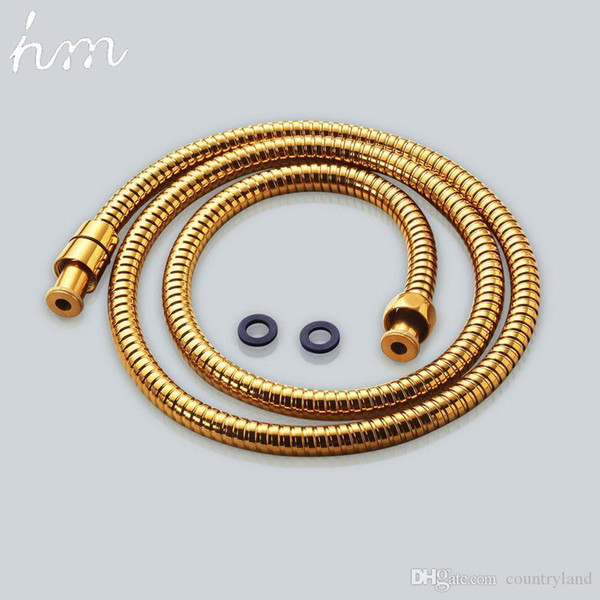 best selling Shower Hose Brass Nut Double Lock Bathroom Replacement Anti-Explosion Stainless Steel 1.5M Gold Anti-Twist Plumbing Hose
