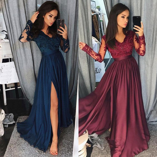 Burgundy Prom Dresses 2019 Formal Evening Party Pageant Gowns Split Special Occasion Dress Dubai 2k19 Black Girl Couple Day Navy Blue