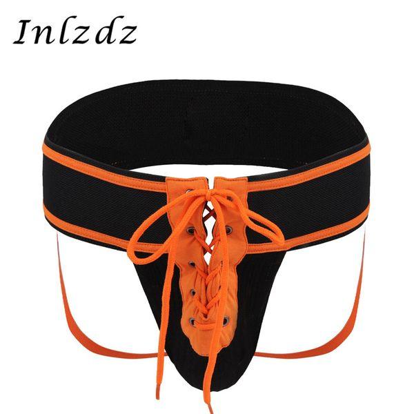 Underwear Men Bikini G-String Thong Briefs Sexy Lace Up Briefs Mesh Jock Strap Front Lacing Sports Underwears Male Thong Panties
