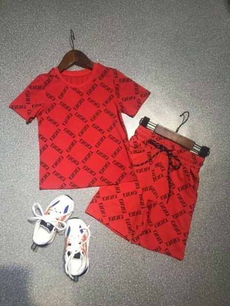 Summer new fashion short-sleeved children's suit comfortable and breathable cute fashion letter F print