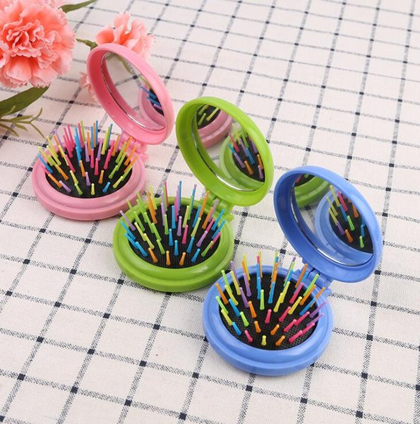Girls Portable Mini Folding Massage Comb Airbag Massage Round Travel Hair brush With Mirror Cute Anti-static Rainbow Comb 400Pcs