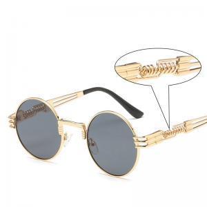 Retro Spring Leg Steampunk Sunglasses Women Round Metal Frame Classical Sunglasses Men Polarized Sunglasses Clean Vision Glasses LJJW164