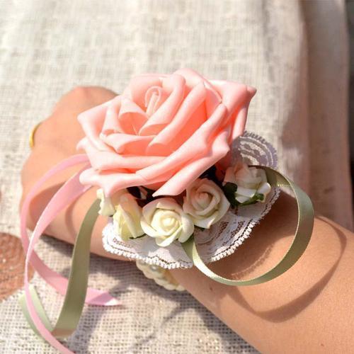 Rosa nuovo bellissimo nastro di seta colorato da polso da sposa fiore sposa damigelle da polso corpetti da sposa mazzi di fiori da donna fiore artificiale