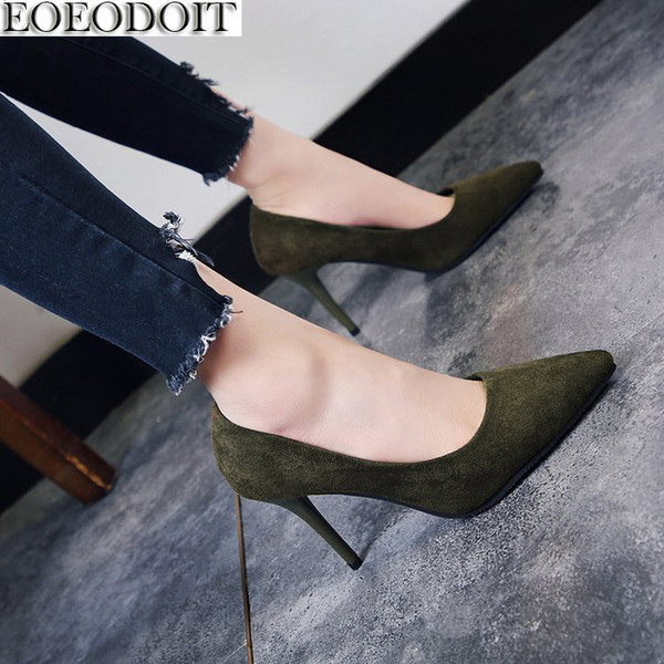Dress Shoes Eoeodoit 2019 Autumn High Heels Thin Heel Stiletto Heels Pumps Office Party Pointed Toe Shallow Mouth 8 Cm Heel