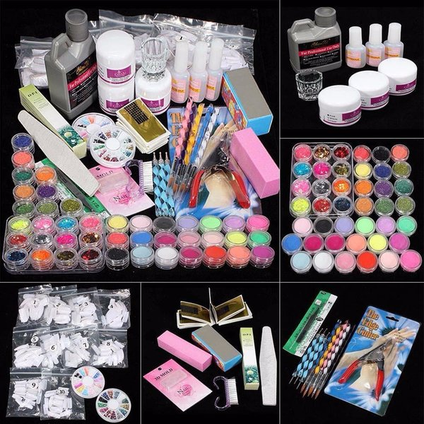 42 Acrílico Nail Kit Art Tips Pó Líquido Escova Glitter Clipper Primer Arquivo Set kit manucure gel uv complet