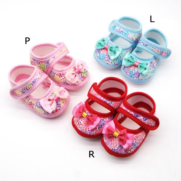 Autumn baby girl floral print shoes anti-slip soft sole crib shoes Breathable Anti-Slip Floral Bow Shoe
