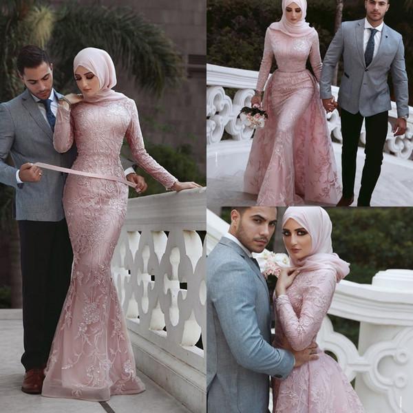 Nouveau Modeste Dubaï Arabe Rose Dentelle Sirène Robes De Soirée 2019 Manches Longues Peplum Wear Longueur Au Sol Party Party Robes Formelles
