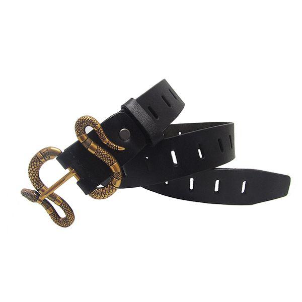 Batı kot yeni erkek deri kemer hellowout yılan toka kemer moda popüler siyah kemer