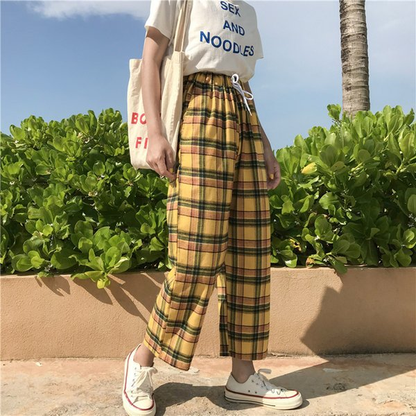 jrnnorv vintage yellow plaid japanese harajuku summer pants women casual drawstring ankle-length loose wide leg cotton pants