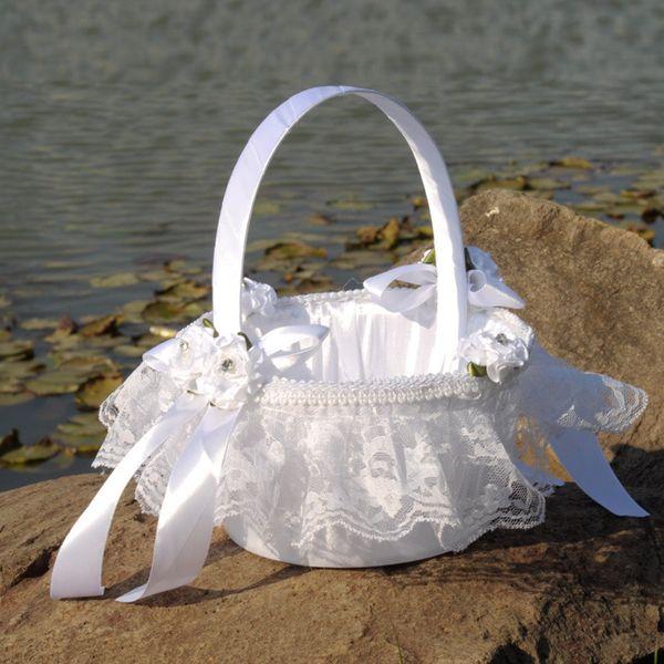 Cestino di fiori di pizzo bianco Cestino di fiori di seta rotondo elegante Bomboniere Accessori da sposa Nuovo CPA1902