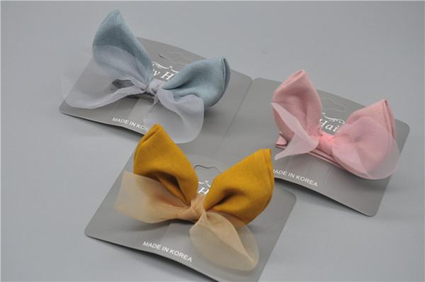 2019 new Dog Grooming hairpin baby Hair Accessories bow Hair Clip Snow yarn rabbit ears little princess cute baby card20pcs/lot
