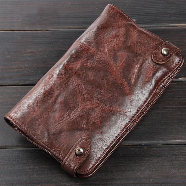 Wallet Sheepskin Genuine Leather Clutch Bag Male Handmade Ruched Man Wallets Card Holder Original Vintage Men Purse YKK Zipper