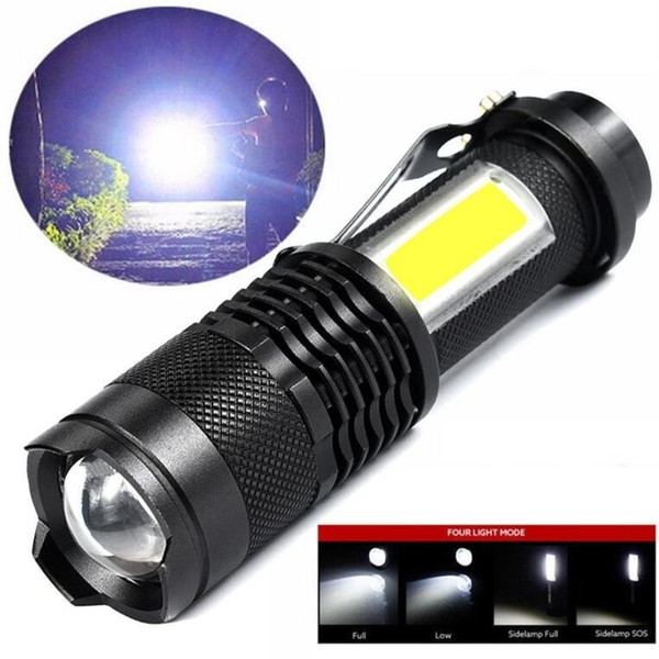 Led aluminium alloy flashlights mini COB lamplight multifunction outdoor camping torchs penlight Q5 IP66 waterproof lantern zoom mini torch
