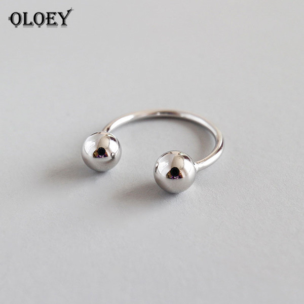 oloey genuine 925 sterling silver opening adjustable rings for women korean style double ball beads finger ring jewelry ymr586