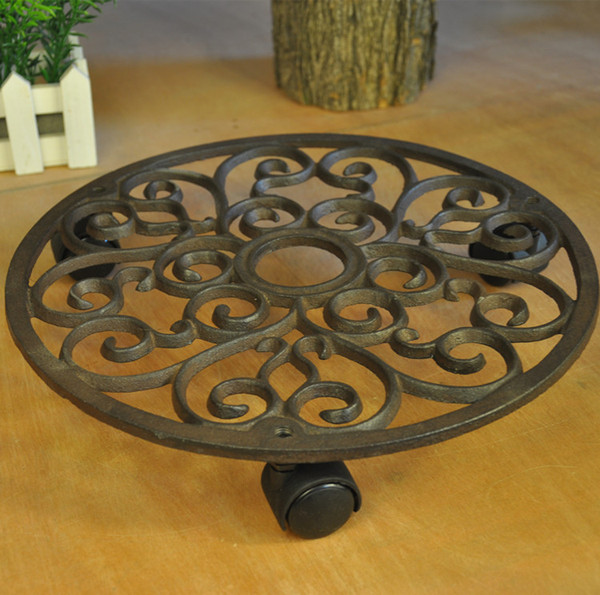 Astonishing 2019 Cast Iron Pots Tray Balcony Round Mover With Wheels Brown Garden Pot Planter Rack Holder Floor Stands Shelf Patio Lawn Decor Vintage Garden From Customarchery Wood Chair Design Ideas Customarcherynet