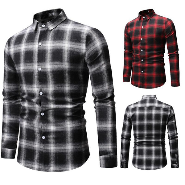 New Men's Plaid Shirt Soft Comfortable Spring Male Slim Fit Business Office Casual Long sleeved Checked Shirts 1801-ML54